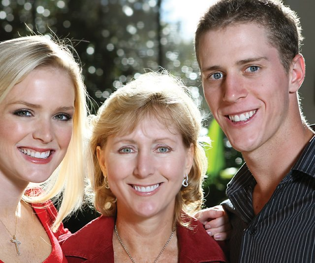 Tracey Stewart flanked by her daughter, Chelsea, and son, Aaron