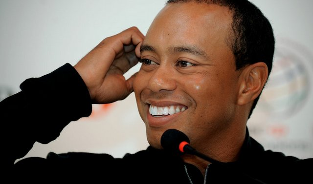 Tiger Woods at a press conference in Shanghai on Nov. 3 for the HSBC Champions.