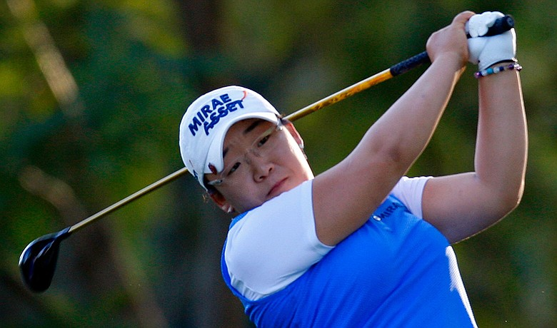 Jiyai Shin tees off the 17th hole during the first round of the Lorena Ochoa Invitational.
