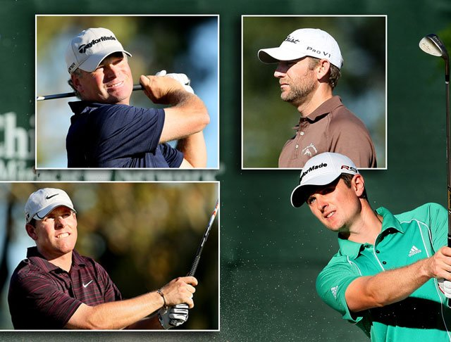 (Clockwise, from top right) Co-leaders George McNeill, Justin Rose, Justin Leonard and Mathias Gronberg.