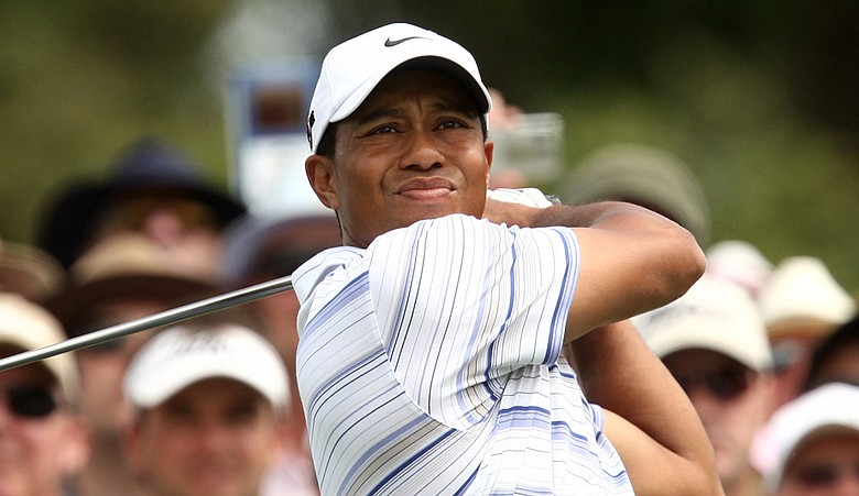 Tiger Woods tees off on the 7th hole during Round 3 of the Australian Masters.