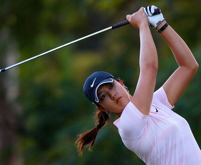 Michelle Wie tees off the 17th hole during the third round of the Lorena Ochoa Invitational.