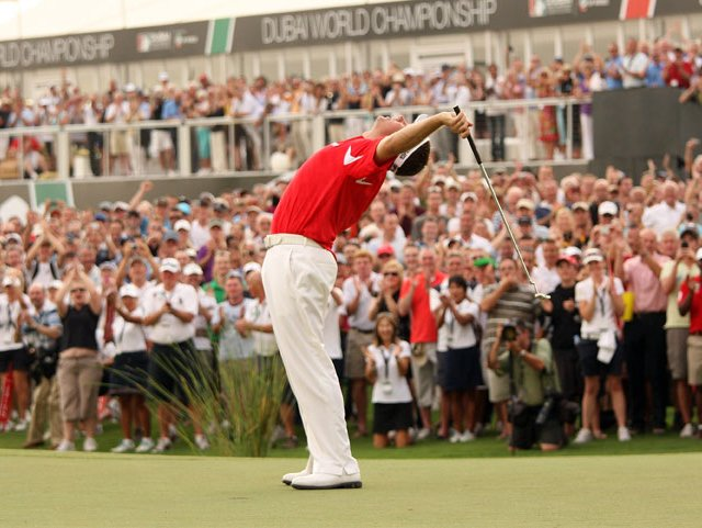 Lee Westwood celebrates on the 18th green.