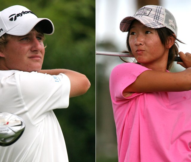 Emiliano Grillo (left) shot 67 Monday at the Polo Golf Junior Classic and was tied for the lead in the boys&#39; division. Doris Chen had 68 to lead the girls. 