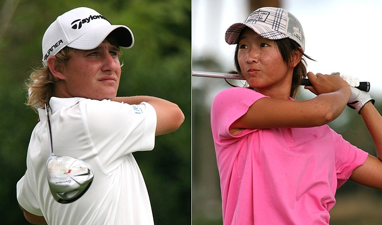 Emiliano Grillo (left) shot 67 Monday at the Polo Golf Junior Classic and was tied for the lead in the boys' division. Doris Chen had 68 to lead the girls.