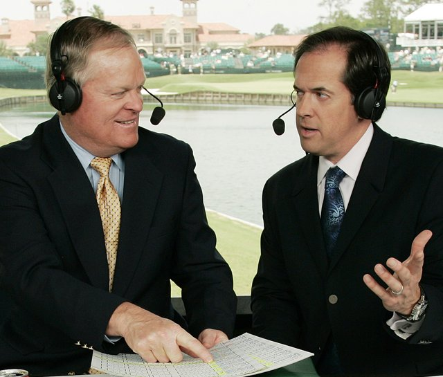 Johnny Miller (left) and Dan Hicks in the NBC booth. The PGA Tours six-year deal with the CBS and NBC is set to expire in 2012, so ratings will be important this year.