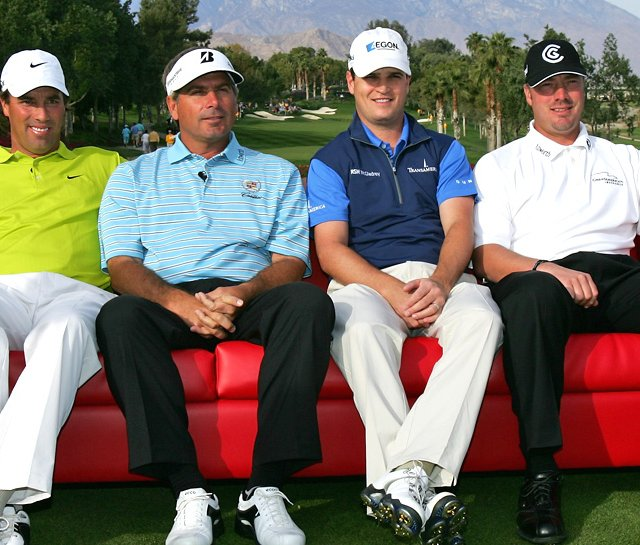 (Left to right) Stephen Ames, Fred Couples, Zach Johnson and Brett Wetterich pose before the start of the final round of the PGA LG Skins Game on Nov. 25, 2007.