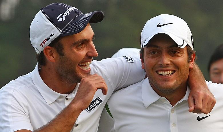 Francesco Molinari (right) and Edoardo Molinari celebrate after winning the Omega Mission Hills World Cup.