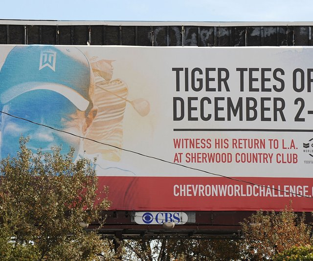 A sign promoting Tiger Woods at the Chevron World Challenge is displayed off the freeway in Thousand Oaks, California.