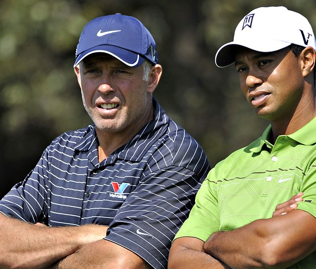 Tiger Woods and caddie Steve Williams at HSBC Champions in Shanghai on Nov. 4.