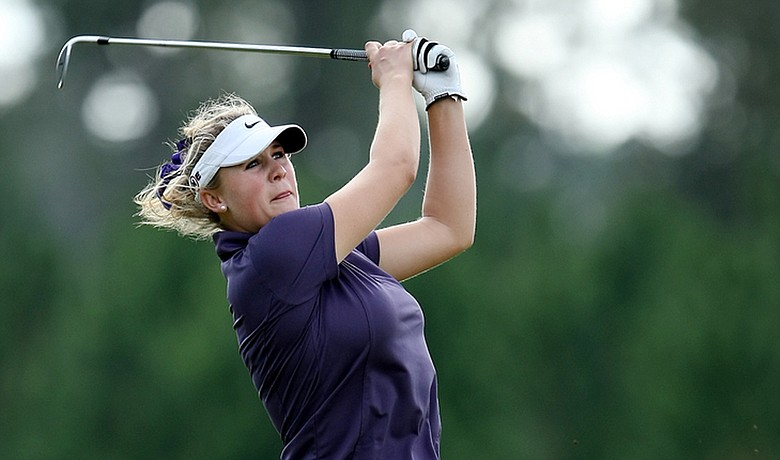 Amanda Blumenherst is one round away from a 2010 LPGA card.