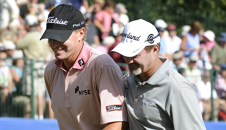 Steve Stricker and Jerry Kelly took a share of the first-round lead at the Shark Shootout thanks to a hot opening nine.