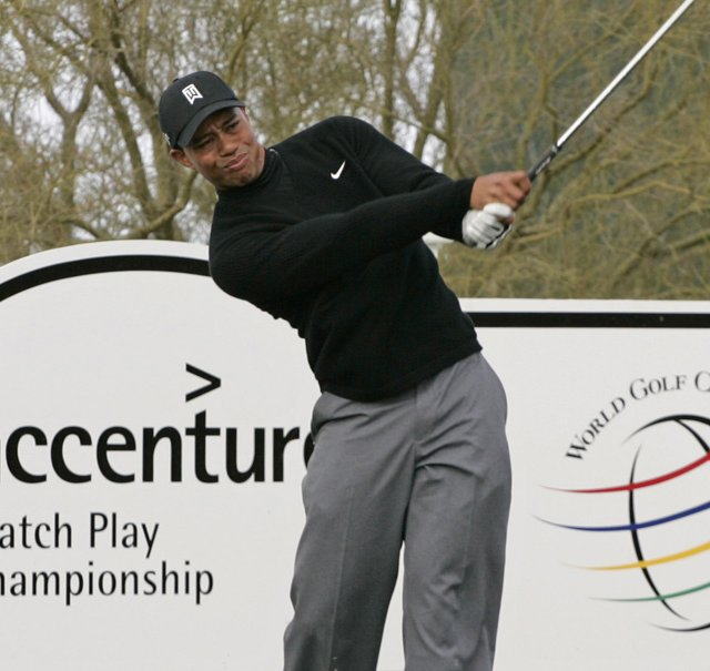 Tiger Woods, shown here during a practice round at the 2007 WGC-Accenture Match Play Championship.