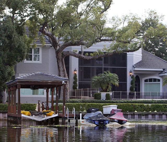The back of Tiger Woods' house in Windermere, Fla