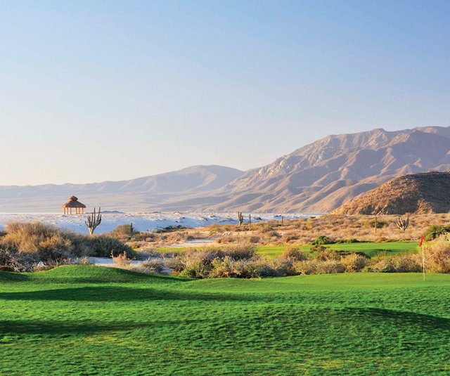 Jagged mountains and the Sea of Cortez surround Tom Doak&#39;s first course design in Mexico. 