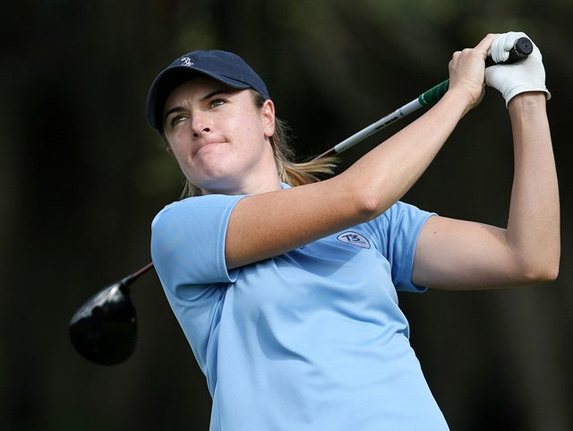 Alison Walshe hits a tee shot during the 2009 LPGA Qualifying School on the Legends Course in Daytona Beach, Fla.