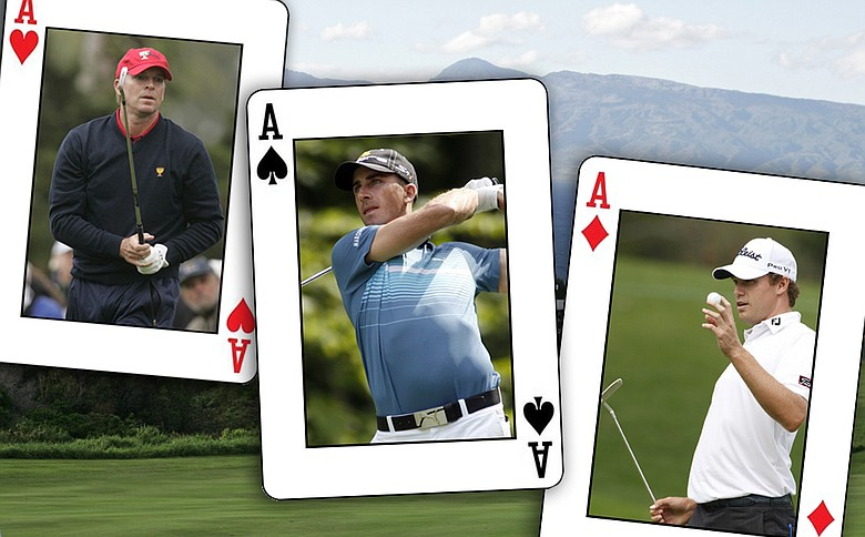 (From left to right) Steve Stricker, Geoff Ogilvy and Nick Watney.