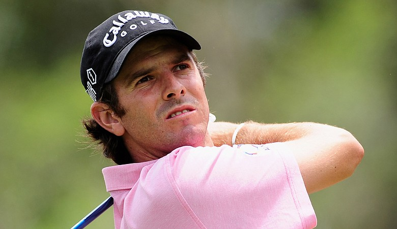 Thomas Aiken plays his tee shot on the first hole during the Africa Open.