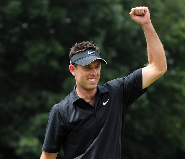 Charl Schwartzel celebrates after winning the Joburg Open.