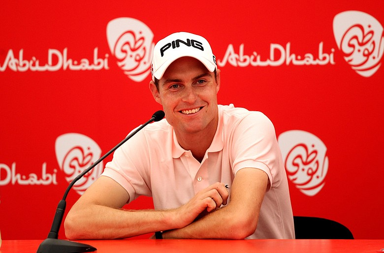 Rhys Davies talks to the media after shooting 68 in the second round of The Abu Dhabi Golf Championship.