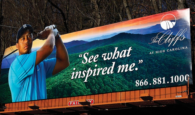 A billboard touting High Carolina is about the only place Tiger Woods has been seen since late November.