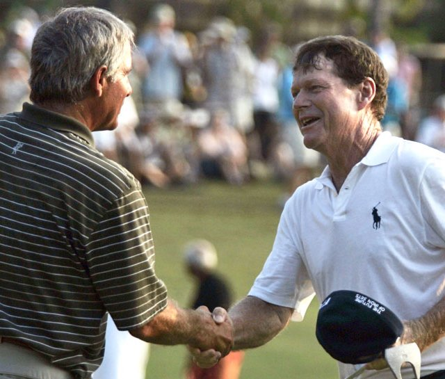 Tom Watson, right, is congratulated by Fred Couples after Watson won the Mitsubishi Electric Championship.