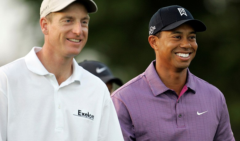 Jim Furyk and Tiger Woods at the 2008 CA Championship.