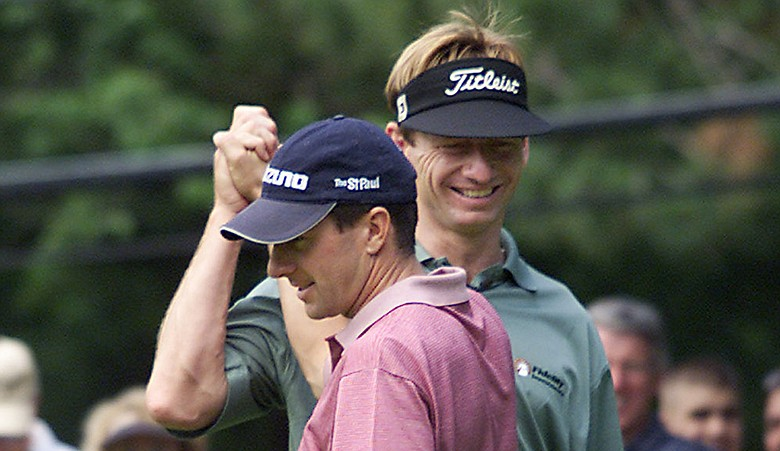 Billy Andrade, left, and Brad Faxon at the 2003 CVS Charity Classic.