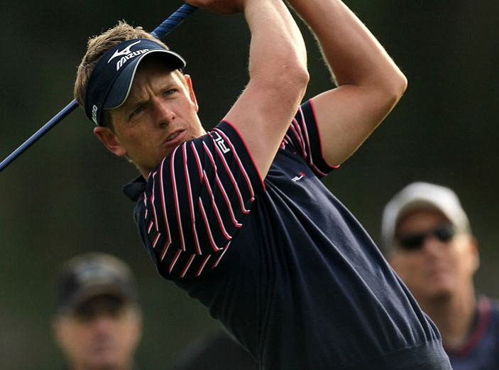 Luke Donald was one of several players to sport a cashmere vest during the first round of the Northern Trust Open.