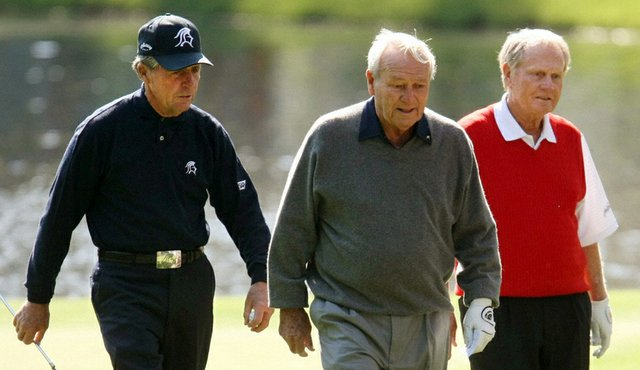 Gary Player, Arnold Palmer and Jack Nicklaus walk together during the Par 3 contest before the 2009 Masters.