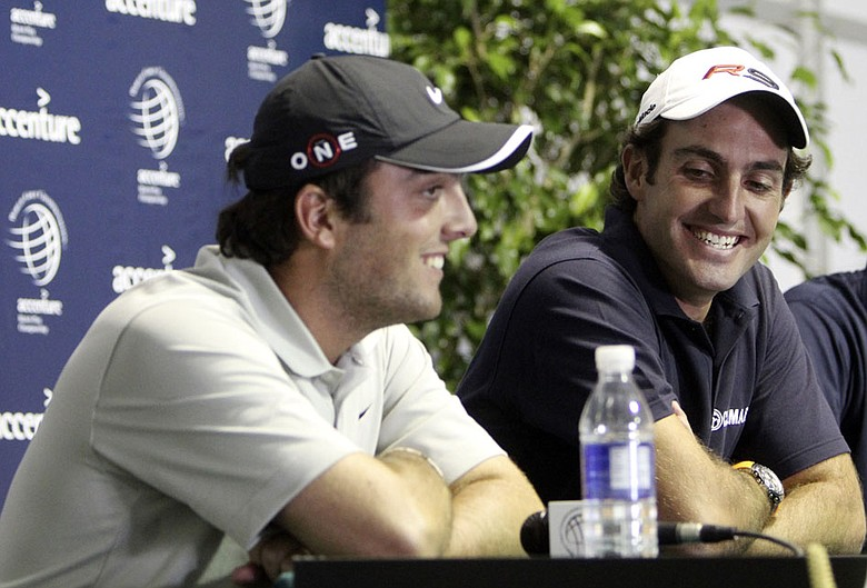 Edoardo Molinari, right, and his brother, Francesco Molinari, talk to the media Monday at the Accenture Match Play Championship.
