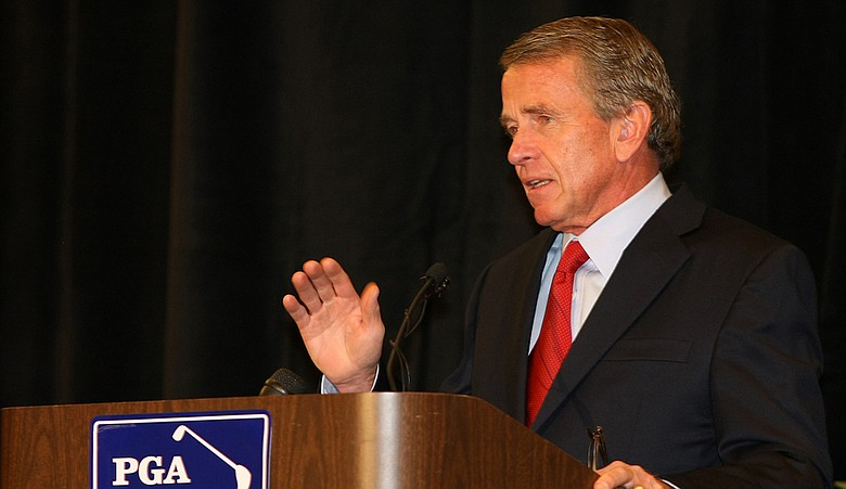 PGA Tour commissioner Tim Finchem during a press conference following Tiger Woods' 2010 statement at TPC Sawgrass.