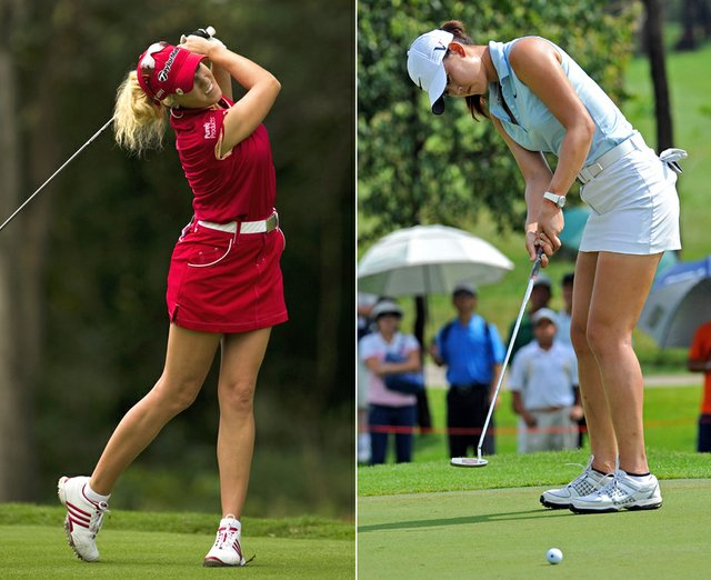 Natalie Gulbis and Michelle Wie during the first LPGA event of 2010.