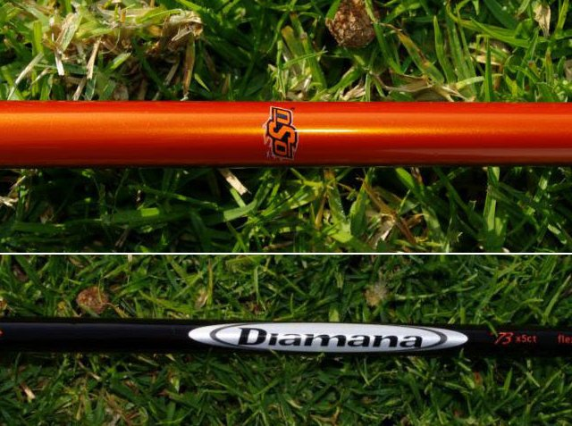 Rickie Fowlers Mitsubishi Diamana Whiteboard shaft with Oklahoma State colors and logo.