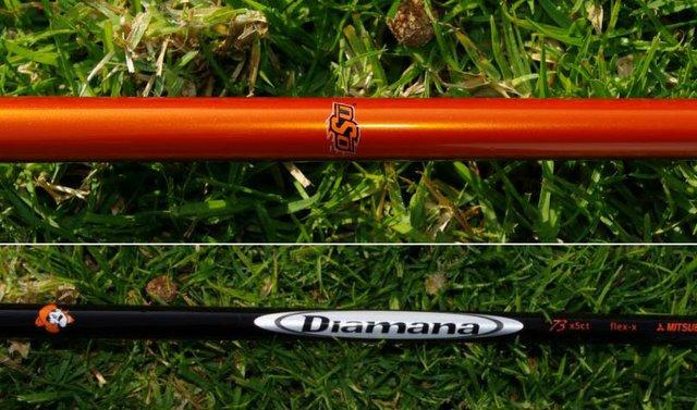 Rickie Fowler's Mitsubishi Diamana Whiteboard shaft with Oklahoma State colors and logo.