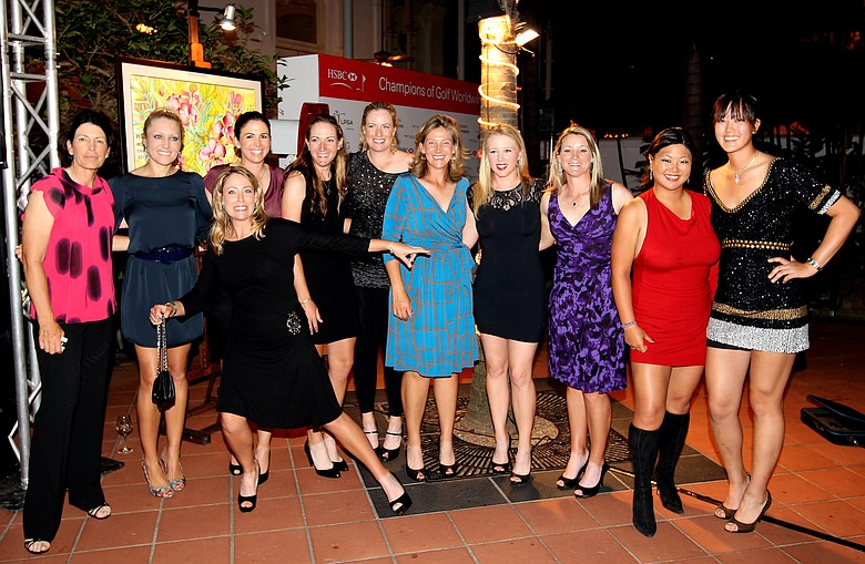 (Left to right) Juli Inkster, Natalie Gulbis, Cristie Kerr, Nicole Castrale, Brittany Lang, Brittany Lincicome, Angela Stanford, Morgan Pressel, Kristy McPherson, Christina Kim and Michelle Wie.