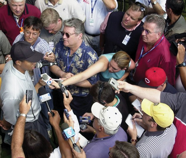 Tiger Woods may find the post-round media gatherings  or scrums  a bit thinner.