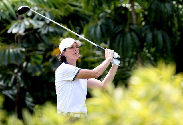 Juli Inkster tees of on No. 7 at the Tanah Merah Country Club  in Singapore during the second round of the HSBC Champions.