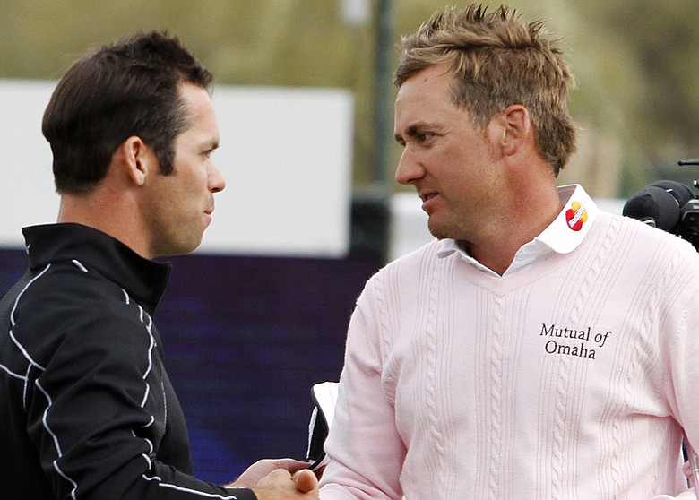 Ian Poulter (right) is congratulated by Paul Casey after his 4-and-2 victory in the finals of the Accenture Match Play Championship.