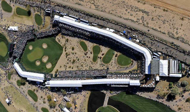 An aerial view of the 16th at TPC Scottsdale.