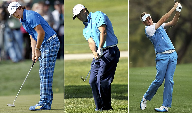 (Left to right) Rickie Fowler, Scott Piercy and Ian Poulter at the Waste Management Phoenix Open.