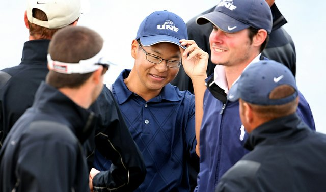 Joe Byun is congratulated by his teammates after leading North Florida to a victory March 2 at the John Hayt Collegiate Invitational.