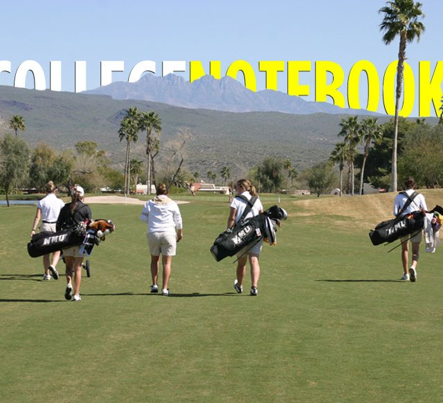 Western Michigan players walk up a fairway at Rio Verde Country Club, a private, 36-hole facility just outside of Scottsdale, Ariz.