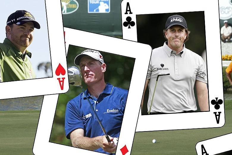 (From right to left) J.B. Holmes, Jim Furyk and Phil Mickelson.