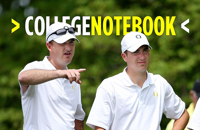 Oregon coach Casey Martin (left) talks with  Joey Benedetti during the second round of the 2008 NCAA Championship.