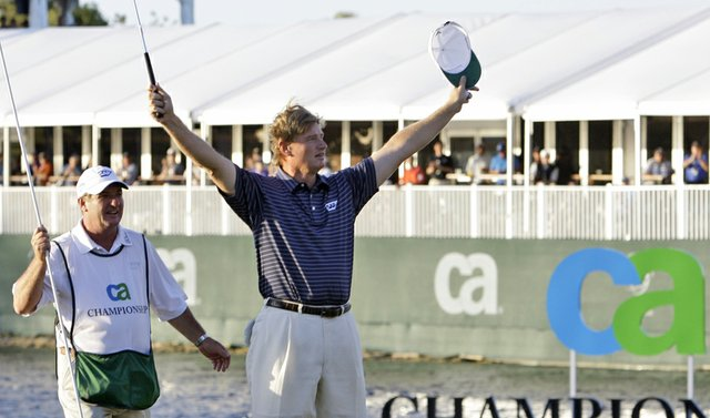 Ernie Els celebrates after winning the CA Championship.