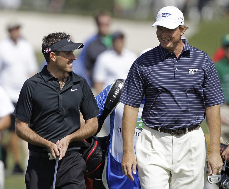 Charl Schwartzel (left) and Ernie Els during the final round at the CA Championship.