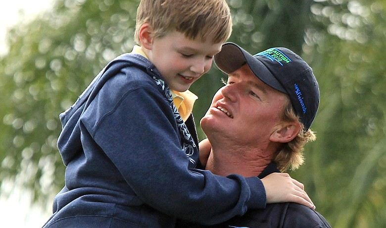 Ernie Els with his son Ben during the Els for Autism Pro-Am at the PGA National on March 15.