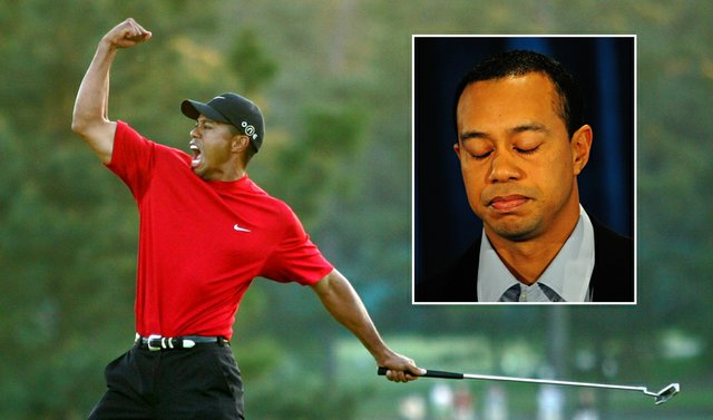 Tiger Woods fist pumps after winning the 2005 Masters.