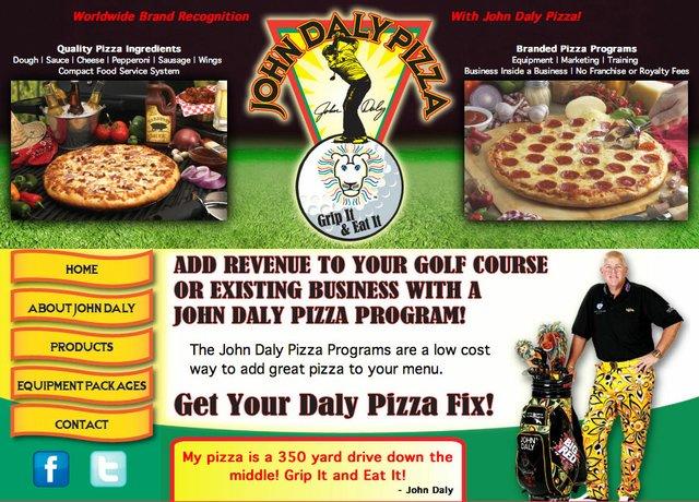 A screenshot of www.johndalypizza.com.